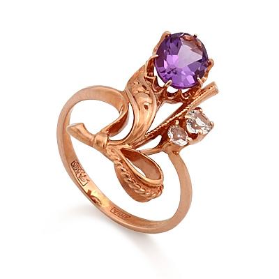 Кольцо из красного золота с аметистом и бесцветными топазами 3.3 г SL-0227-320