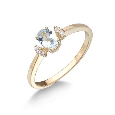 Кольцо с аквамарином и бриллиантами 2.3 г SL-0215-230